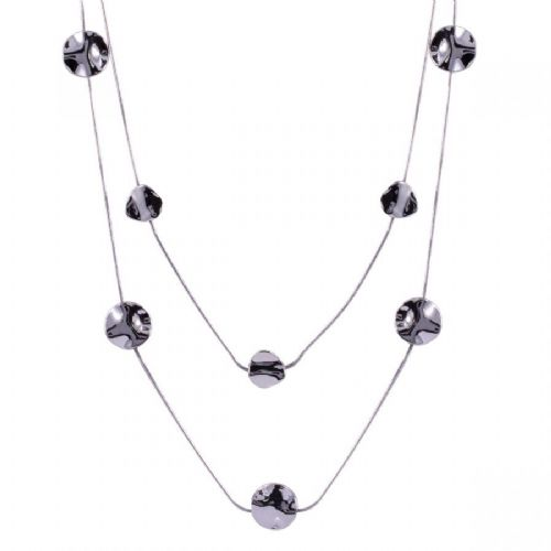 Long Double Strand Necklace with Hammered Discs